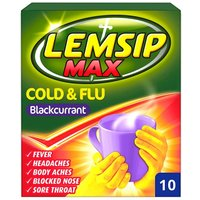 Lemsip Max Cold and Flu Blackcurrant 10 Pack