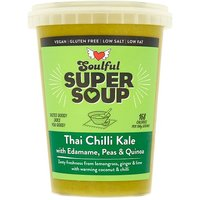 Soulful Soup with Thai Chilli Kale Edamame Peas & Quinoa
