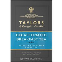 Taylors Decaffeinated Breakfast 20 Tagged Teabags
