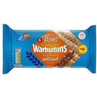 Warburtons 6 Sandwich Thins Half & Half