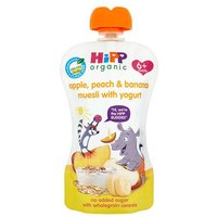 Hipp 6 Month Organic Peach Apple & Banana Muesli with Yogurt Pouch