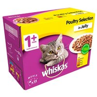 Whiskas 1+ Cat Food Pouches Poultry in Jelly 12 Pack