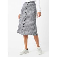 Monochrome Check Linen Skirt Swan and carbon