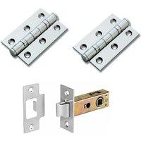 Hiatt Hardware Door Latch And Hinge Pack 64mm - Chrome