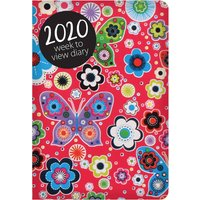 Bright Flowers And Butterflies, Red A7 Diary 2020 - Butterflies Gifts