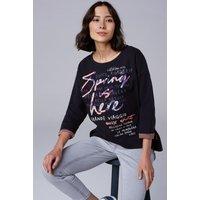 Doubleface Sweatshirt mit Frontprint Farbe : dark blue , Größe: L