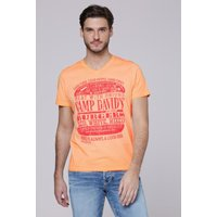 T-Shirt mit Used Print und Destroy-Effekten Farbe : spicy orange