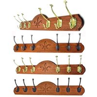 Deluxe 6 Coat Hook Board - Mahogany Finish