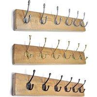 Solid Light Oak Deluxe 6 Coat Hook Board