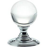 Clear Glass Ball Door Knobs on Polished Chrome Roses