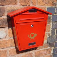 Thorpe Wall Mounted Post Box - Red Finish