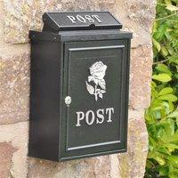 Rose Wall Mounted Post Box - Silver Finish