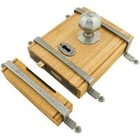 Blacksmith Pewter Patina Oak Box Rim Lock and Octagonal Knobs
