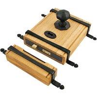 Traditional Blacksmith Oak Box Rim Lock and Octagonal Knobs