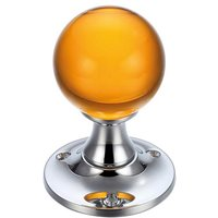 Amber Glass Ball Door Knobs on Plain Polished Chrome Roses