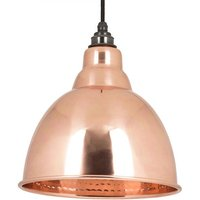 Brindley Pendant - Polished Copper Exterior and Hammered Copper Interi