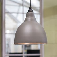 Brindley Pendant Accents - Warm Grey Exterior with White Gloss Interio