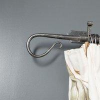 Blacksmith Pewter Patina Shepherds Crook Curtain Finial