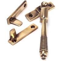 Night Vent Locking Reeded Casement Fastener - Polished Bronze