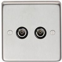 Satin Stainless Steel Double TV Socket