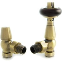 Faringdon Thermostatic Radiator Valve - Antique Brass Angled TRV