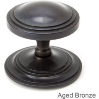 Period Art Deco Centre Door Knob - Aged Bronze