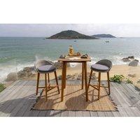 Ensemble repas de jardin type bar 2 personnes - table 80x80cm et 2 chaises - En Acacia FSC et résine tressée