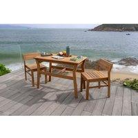 Ensemble repas de jardin ou de balcon 2 personnes -table 105x55cm + 2 chaises encastrables - En eucalyptus FSC
