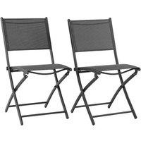 Lot de 2 chaises de jardin pliantes en aluminium assise textilène - 46 x 56 x 85 cm - Gris