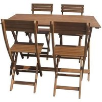 Ensemble repas de jardin pliable 4 personnes - table 120x70cm et 4 chaises - En bois d'eucalyptus FSC