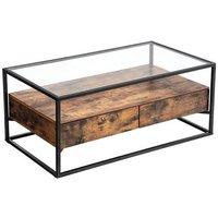 MEUBLES. Cette table est munies d'une solide surface en verre, d'un robuste cadre en fer.  Matériaux: Verre trempé, panneau d'aggloméré, fer. Dimensio