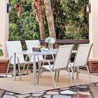Ensemble repas de jardin 4 personnes Aluminium- Table avec plateau en verre 140x85cm + 4 fauteuils acier et assise textilène - Blanc