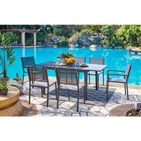 Ensemble repas de jardin 6 personnes - Table alu. extensible 120/180x100cm + 4 chaises et 2 fauteuils alu et assise textilène - Gris