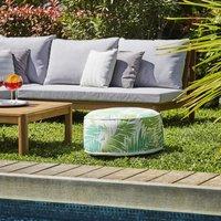 Pouf gonflable jardin Bocarnea - Assise 53 cm - Revêtement spun polyester 200 mg - Motif tropical