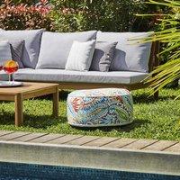 Pouf gonflable jardin Bocarnea - Assise 53 cm - Revêtement spun polyester 200 mg - Motif tropical multicolore
