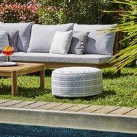 Pouf gonflable jardin Bocarnea - Assise 53 cm - Revêtement spun polyester 200 mg - Motif ethnique noir et blanc