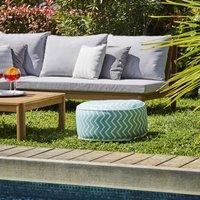 Pouf gonflable jardin Bocarnea - Assise 53 cm - Revêtement spun polyester 200 mg - Motif rayures vert d'eau