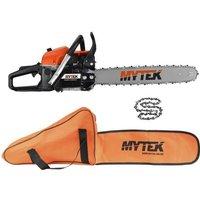 MYTEK Pack Tronçonneuse thermique 58cc avec 2ème chaîne et housse - Taille de coupe 50cm
