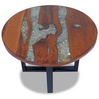 MEUBLES. Couleur : Multicolore Materiau du dessus de table : Teck massif avec finition laquee transparente + resine transparente avec verre concasse M