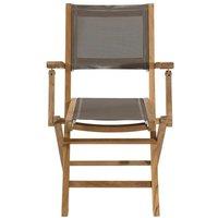 Lot 2 fauteuils pliants en teck et textilène - Couleur taupe JARDITECK