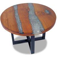 MEUBLES. Table basse Teck Resine 60 cm Cette table basse unique, en bois de teck et de mangue massif avec une decoration en resine transparente, exsud