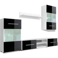 MEUBLES. Meuble TV mural 5 pieces avec eclairage LED Noir Couleur : Noir et blanc Materiau : Agglomere Y compris l'eclairage LED blanc avec une fiche
