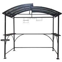HABRITA Carport barbecue autoportant à double toit - Finition époxy - Gris anthracite