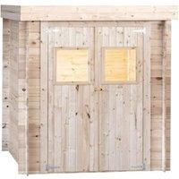 Abri de jardin en bois 19 mm - Avec toit plat - 200 x 200 cm - 4m²