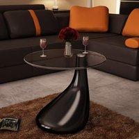 MEUBLES. Table basse de salon brillante noire Cette table basse magnifique dotee d'un elegant socle incurve est un top. Fabriquee en verre de securite