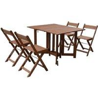 Ensemble repas de jardin 4 personnes - Table 110 x 90cm avec 4 chaises pliantes - Bois Eucalyptus FSC