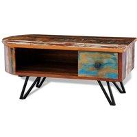 MEUBLES. ?Matériau du dessus de table : bois solide??Matériau des pieds : fer peint??Taille totale : 80 x 40 x 35 cm (L x l x H)??Tiroir multicolore a