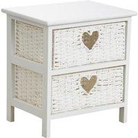 MEUBLES. Table de chevet blanche en medium, 2 tiroirs en corde avec découpes coeurs. Dimensions : 40 x 29 x 42 cm.