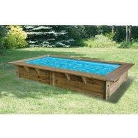 UBBINK Piscine en bois Sunwater - 200x350xH71 cm - Liner bleu - Hors sol, semi enterrée ou enterrée - Garantie 15 ans