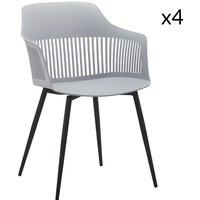 MEUBLES. Chaise design gris avec accoudoirs - Structure en métal ? Matière assise: polypropylène ? Poids maximum supporté: 120kg ? Dimensions: 83x56x58 cm ? Hauteur assise: 46,5 cm ? Poids total: 5 kg